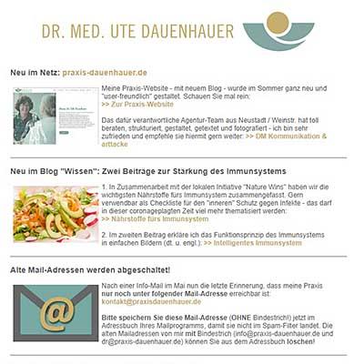 Newsletter von Praxis Dr. Dauenhauer vom Nov. 2020
